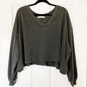 We The Free Buffy Blouson Sleeve Grey Washed Top